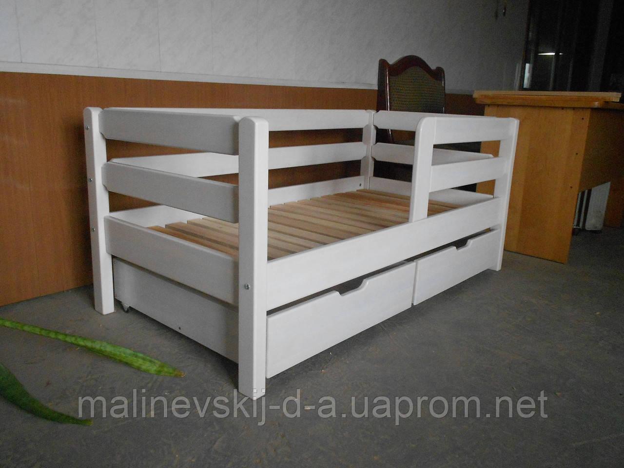деревянная белая кроватка 70140 тимошка с бортиком двойным