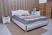 Кровать Прованс (патина) с мягкой спинкой (квадраты) 200*200 бук Олимп, фото 1