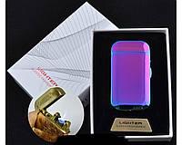 Электроимпульсная (USB) зажигалка + газовая (Острое пламя) в подарочной упаковке Lighter