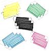 Маски медицинские на резинке (3 шаровые) - 50 шт/уп, синие, зеленые, розовые, желтые