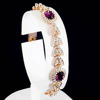 Изумительный браслет с кристаллами Swarovski, покрытый слоями золота 0768