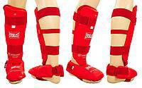 Защита ног (голень+стопа) разбирающ. с футами для единоборств PU ELS BO-3958-R(S) (р.S, красный)