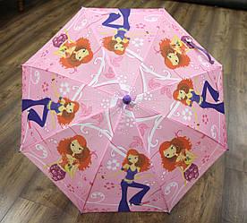 Детский розовый зонт трость полуавтомат для девочек Модница