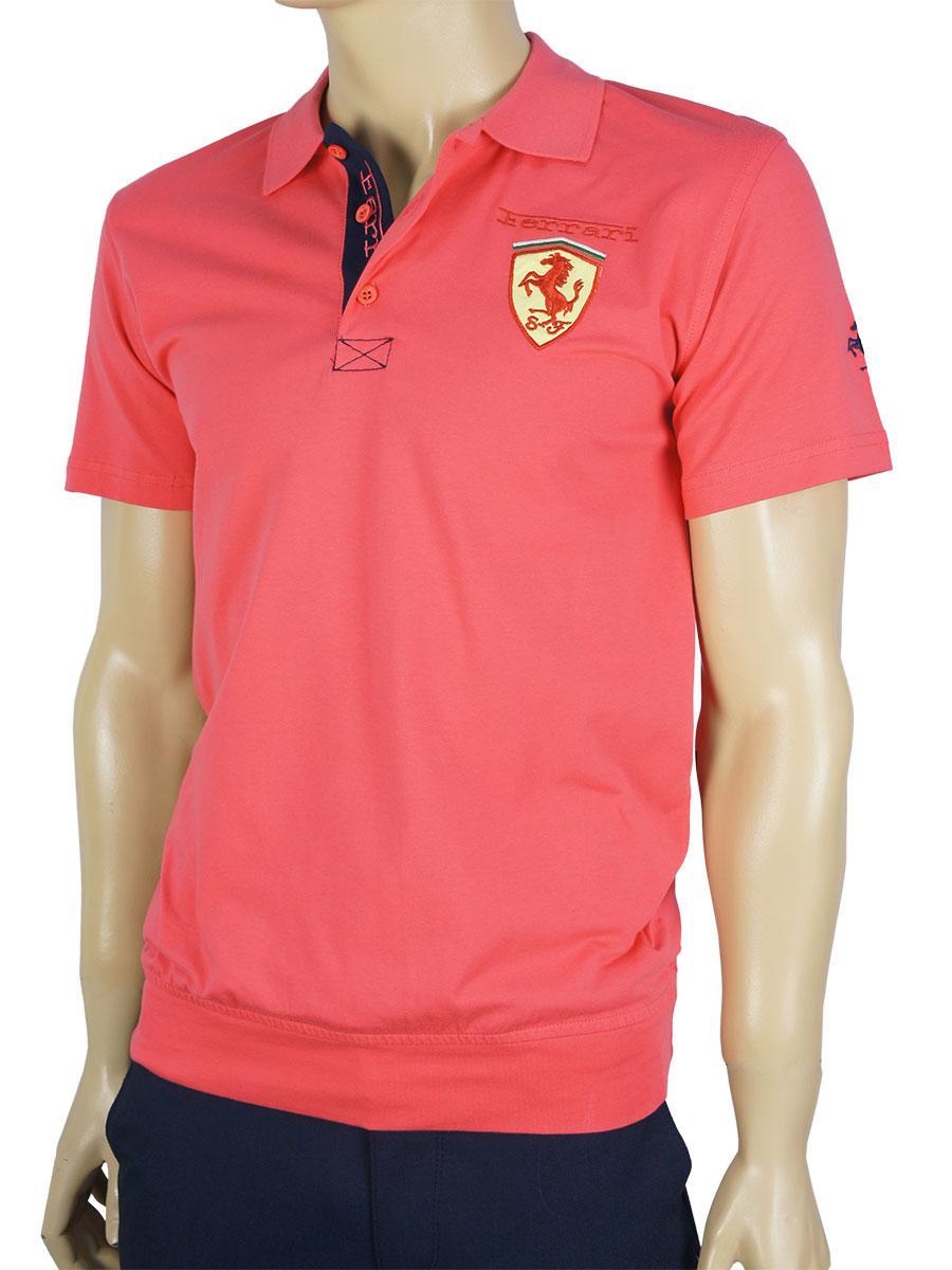 Турецкая мужская тенниска 4320 кораллового цвета