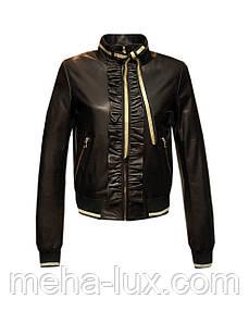 Куртка бомбер женская кожаная Carnelli с рюшой черная