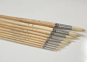 """Кисть  щетина """"Сонет"""" круглая, длинная ручка, покрытая лаком, № 1, диам. 3 мм  353024"""