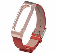 Кожаный ремешок MIJOBS для фитнес-браслета Xiaomi Mi Band 2 - Gold/Red