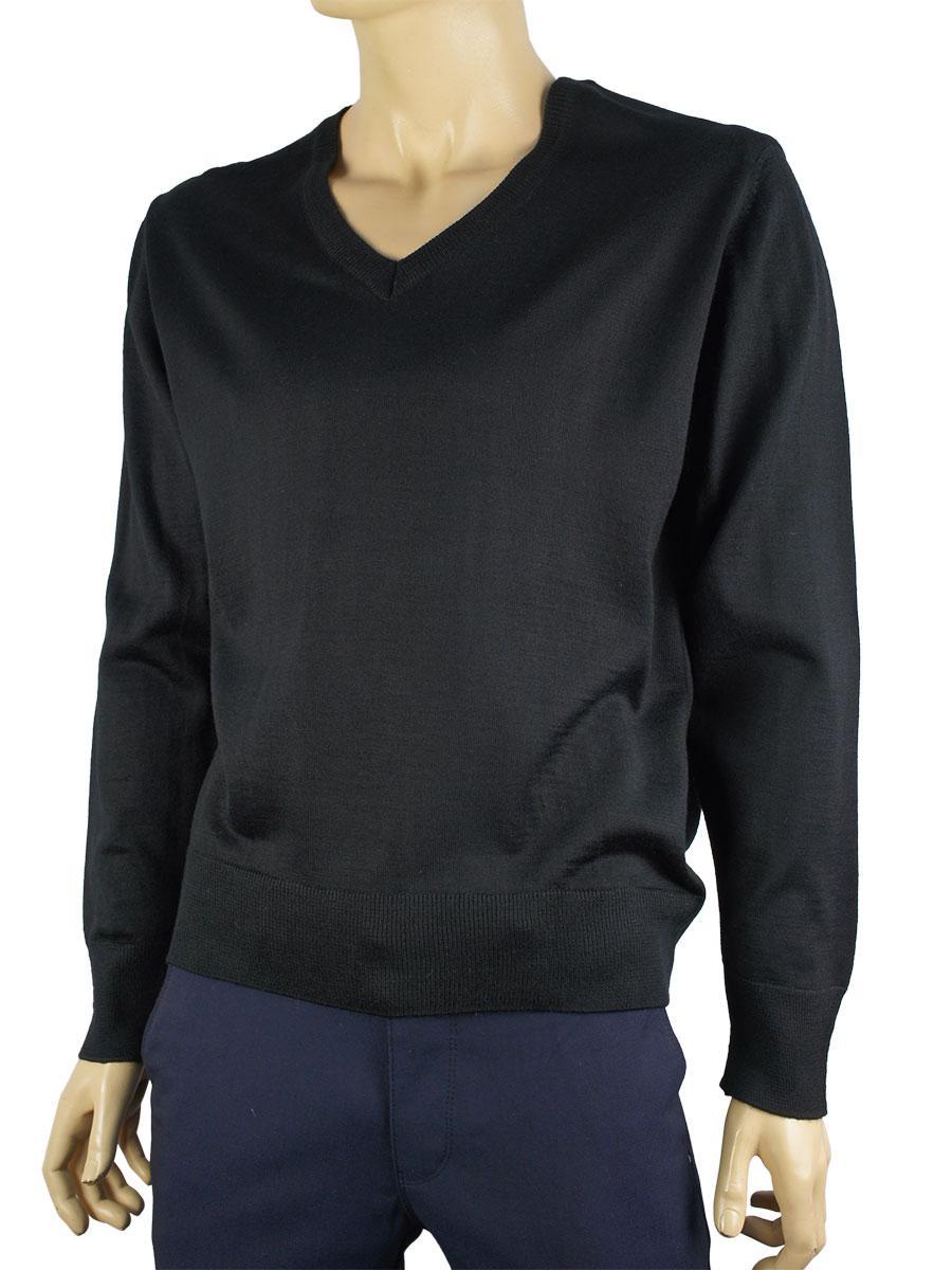 Пуловер мужской Wool 0250 Н мис черного цвета