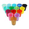 Одноразовые пластиковые стаканы - 100 шт/уп, синие, зеленые, желтые, розовые, фиолетовые, лайм, фуксия, красный