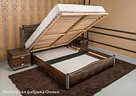 Кровать Прованс (патина) с мягкой спинкой (ромбы) и ПМ 200*180 бук Олимп, фото 1