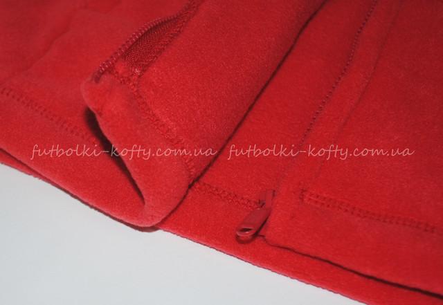 Детская  красная классическая флисовая кофта на замке