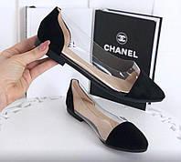 Балетки туфли замшевые с силиконовыми вставками, цвет черный, фото 1