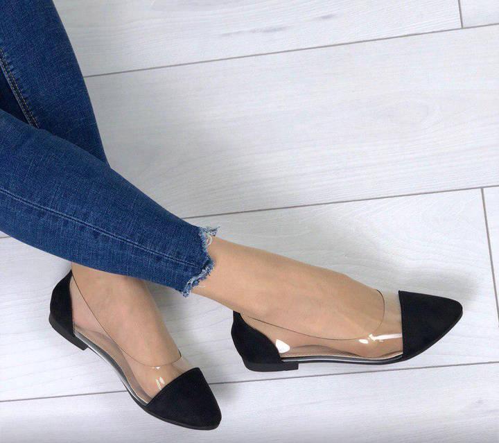 Балетки туфли замшевые с силиконовыми вставками, цвет черный, фото 4