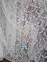 Тюль бархатная печать Лилия белая