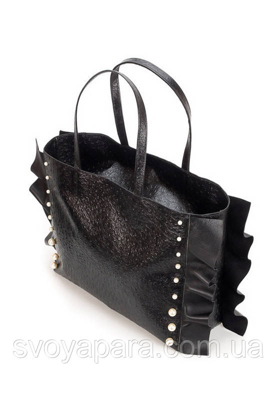 Женская сумка шоппер черная кожаная (30-01)