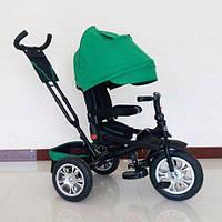 Трехколесный велосипед коляска с ручкой Turbo Trike с надувными колёсами, зелёный