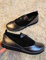 """Туфли на резинке """"Жучок"""" на низком ходу натуральная кожа и замша код 2786"""