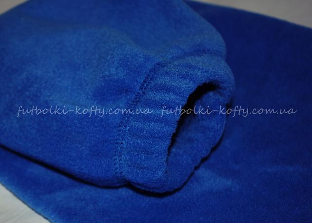 Детская  ярко-синяя  классическая флисовая кофта на замке