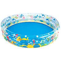 Бассейн детский надувной, Подводный мир, 183-33см, 3 кольца, ремкомплект,Bestway, 51005