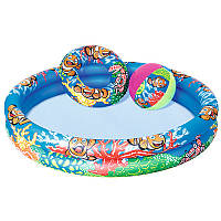Бассейн детский надувной, Подводный мир, 122-20см, 2 кольца, круг, мяч, ремкомплект,Bestway,  51124