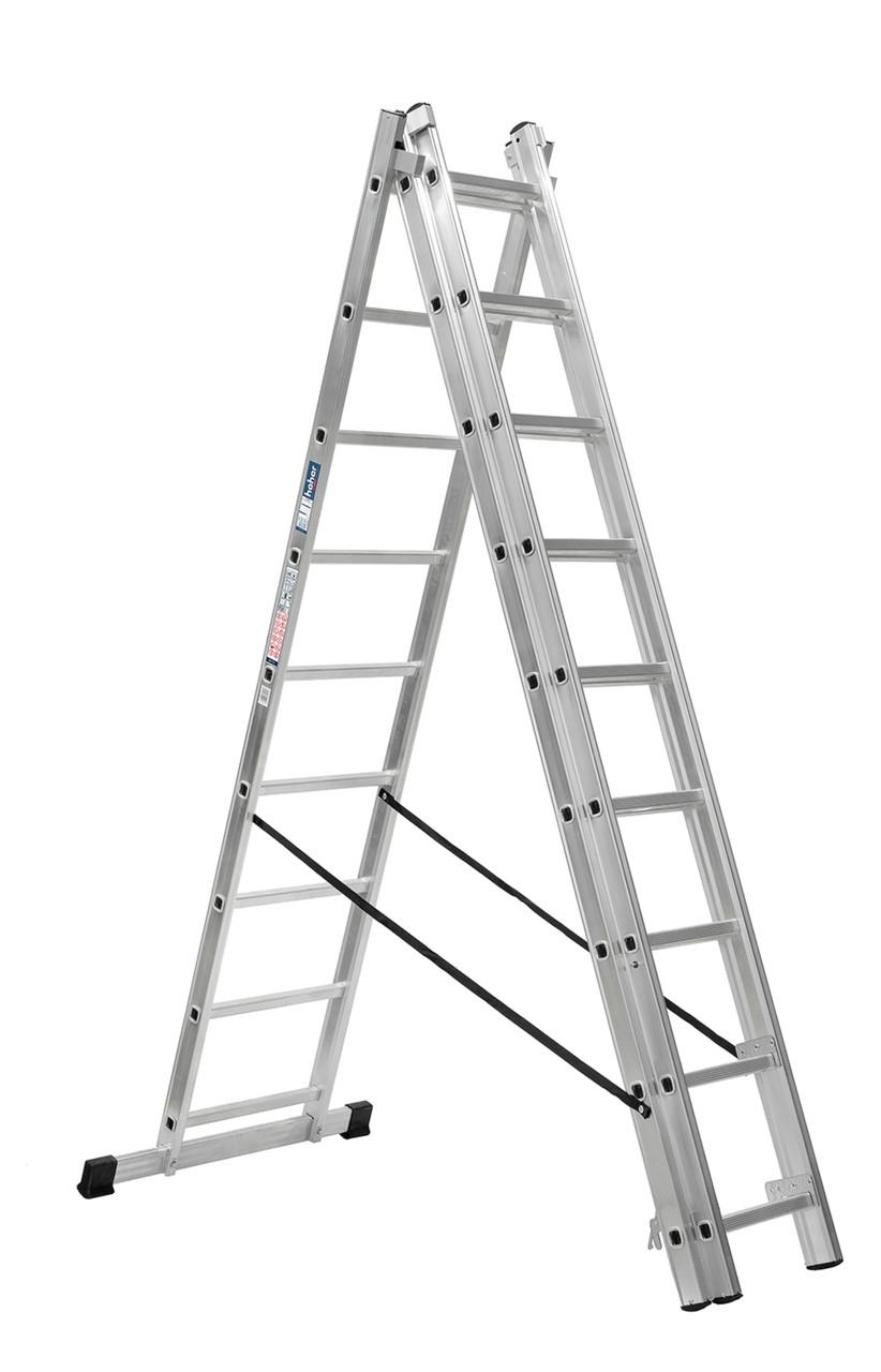 Лестница универсальная HIGHER 3х9 алюминиевая