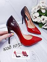 Туфли женские двухцветные омбре черный/красный