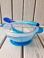 Детский набор посуды  на присоске синий (тарелка, ложка. крышка) Bambi