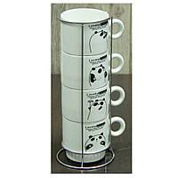 "Набор чайный на 4 персоны с подставкой ""Панда"" 250 мл."