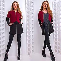 Кашемировое короткое женское пальто двухцветное 66PA77