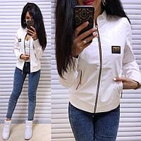 Кожаная женская короткая куртка на молнии 41KU84, фото 1