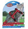 Шлейка с поводком для кошки (4 цвета) 35-45см/10мм/1.20 м, нейлон с рисунком