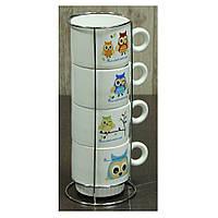 """Набор чайный на 4 персоны с подставкой """"Совы""""  250 мл."""