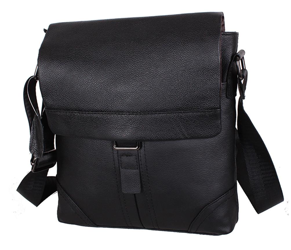 Мужская кожаная сумка R003 черная