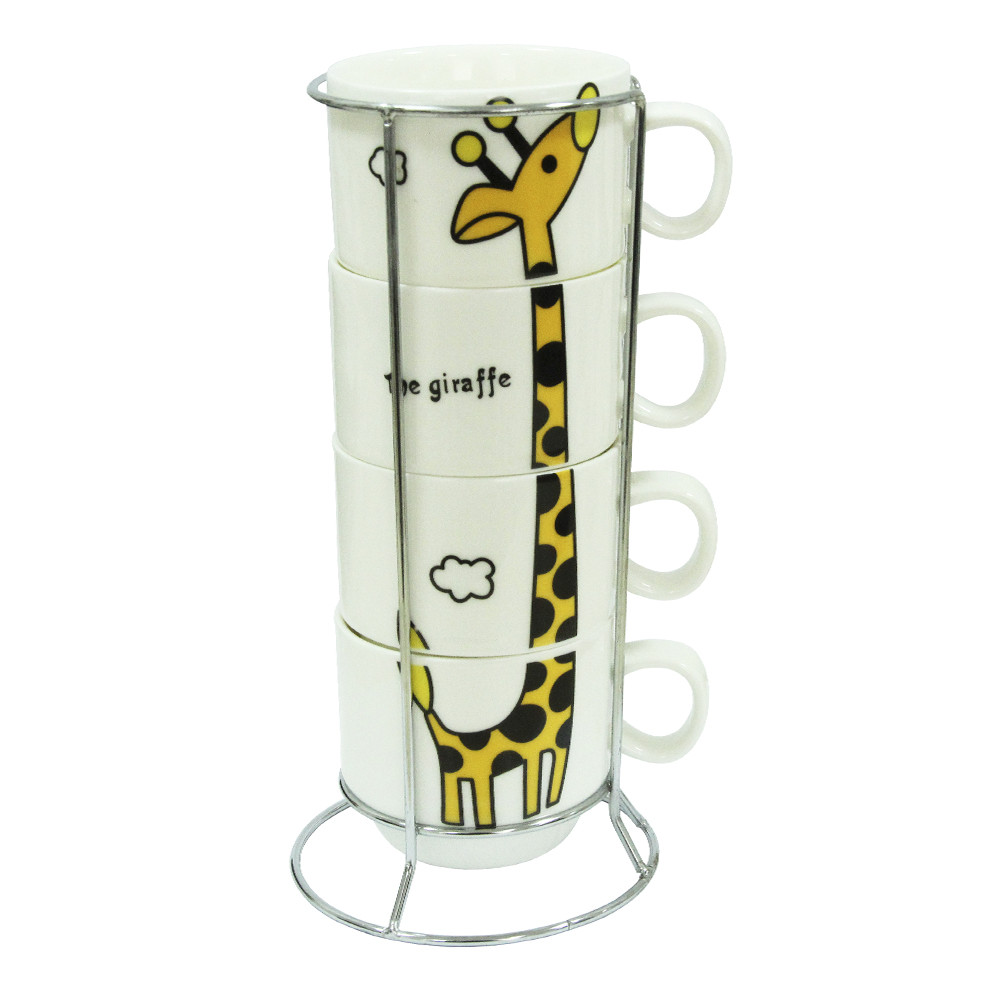 """Набор чайный 4 персоны на подставке """"Жираф"""" 250 мл."""