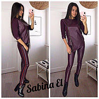 Женский кожаный костюм с асимметричной кофтой 7KO384, фото 1