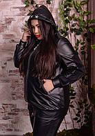 Женская кожаная куртка батал с капюшоном 10BR604