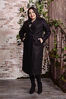 Женское удлиненное пальто в больших размерах на запах 10BR606