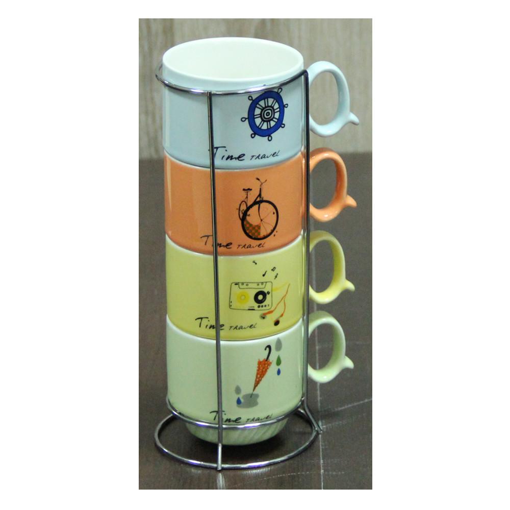 """Набор кофейный на 4 персоны на подставке """"Винтаж"""" 150 мл."""
