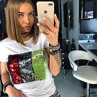 Женская летняя футболка с рисунком из пайеток 90727, фото 1