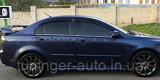 Ветровики, дефлекторы окон Mitsubishi Lancer X 2007- (Hic)