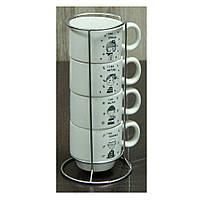 """Набор кофейный на 4 персоны с подставкой """"Детский сад 150 мл."""