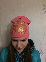 Трикотажная шапка с золотистым принтом для девочки