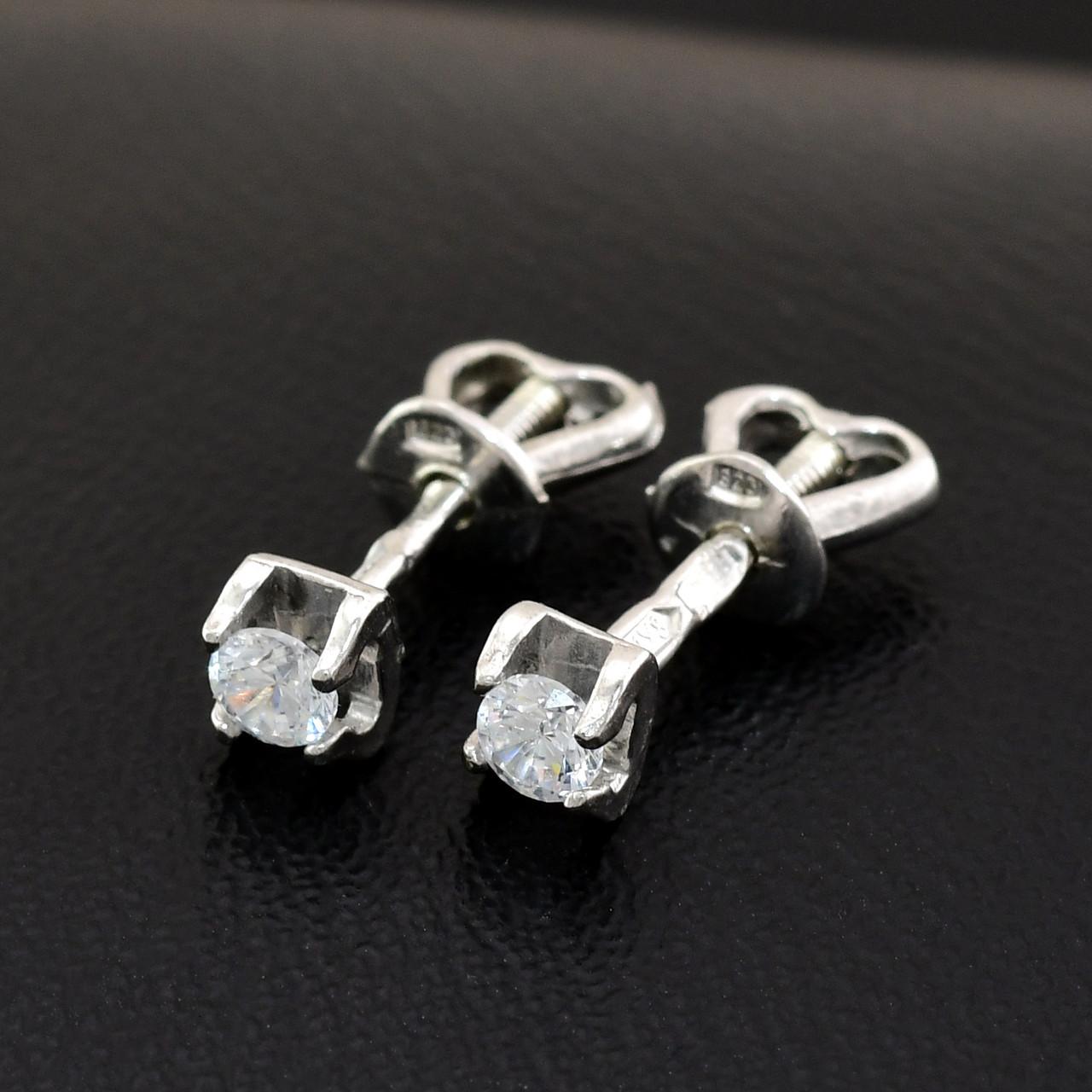 """Серебряные серьги """"Замок"""", размер 5*4 мм, вставка белые фианиты, вес 1.1 г"""