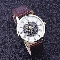 Часы женские наручные кварцевые с коричневым браслетом, белый циферблат