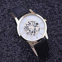 Часы женские Yazole наручные кварцевые с чёрным браслетом, белый циферблат