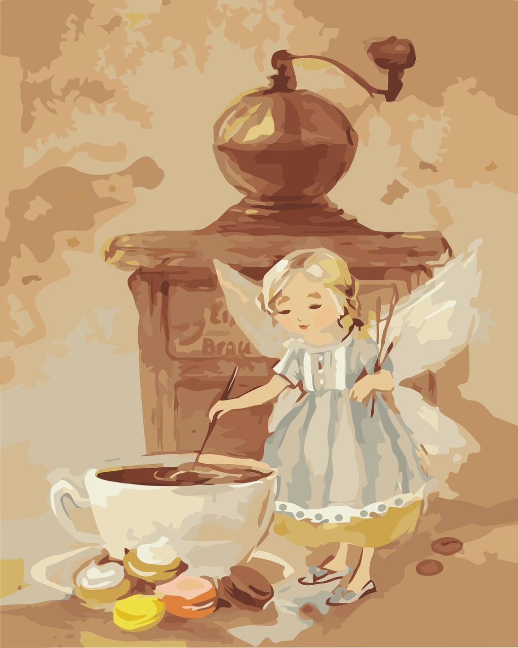 KH2645 Картина раскраска Кофейная феечкаИдейка