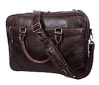 Мужская кожаная сумка с отделением под ноутбук Dovhani 9086-3 Коричневая