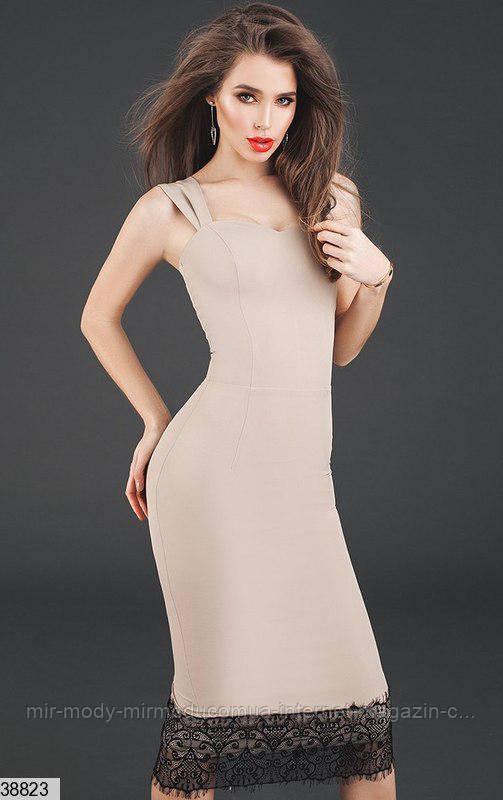 Платье 38823 бежевый с 42 по 46 размер (кт)
