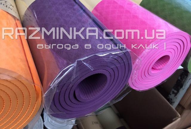 Нескользящий коврик для фитнеса Premium TPE+TC 6мм