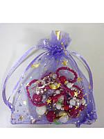 Мешочек из органзы фиолетовый золотой  рисунок